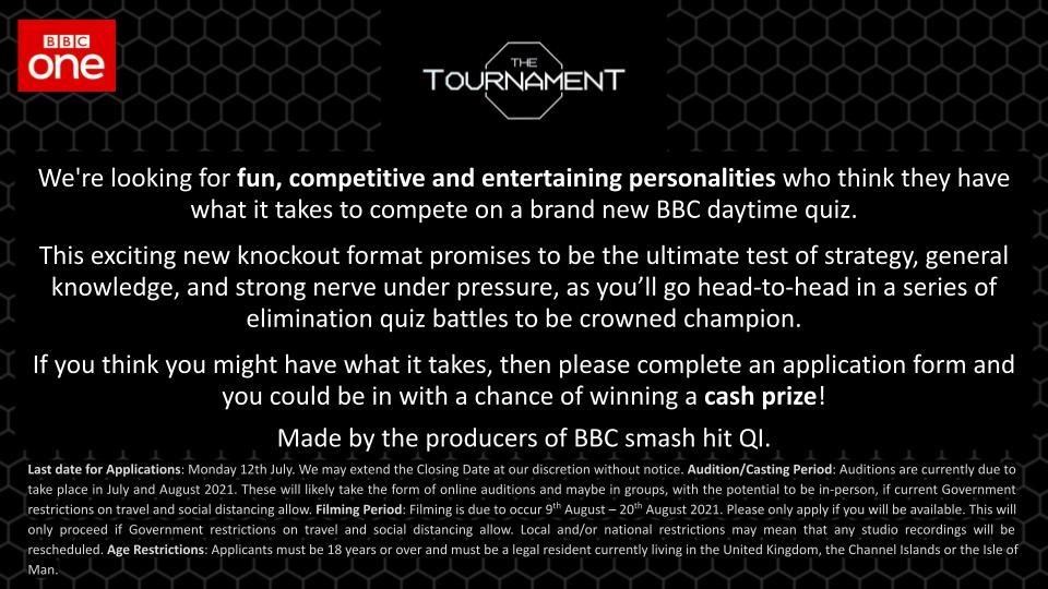 brand new BBC1 quiz show called THE TOURNAMENT